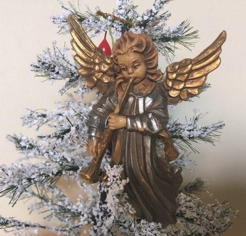Oude antieke Kerst engel van early plastic in goud en zilver uit de jaren 1960