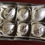 6 antieke oude druppel kerstballen in doos van dun geblazen glas 1e helft 1900