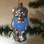Antieke oude Kerst beer van dun geblazen glas midden 1900