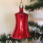 Antieke oude rode kerstklok van dun geblazen glas 1e kwart 1900