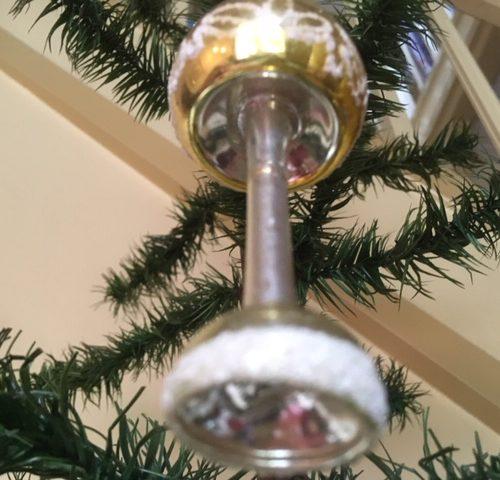 Antieke oude, grote kerstbal schemerlamp van dun geblazen glas begin 1900