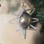 Oude antiek Gablonz kerstbal een ster van dun geblazen glas in zilver jaren 1930