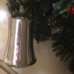 Antieke grote oude kerstklok van dun geblazen glas in zilver 1e kwart 1900