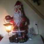 Giga grote celluloid etalage kerstman met lantaarn laatste kwart 1900