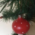 Antieke oude Kerst paddenstoel van dun geblazen glas 1e kwart 1900