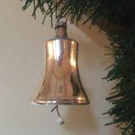 Antieke oude kerstklok van dun geblazen glas in zilver 1e kwart 1900