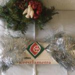 Oude retro Kerst lametta garland in zilver van Vendex midden 1900