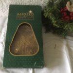 Vintage doos met metaal engelenhaar in goud 2e helft 1900