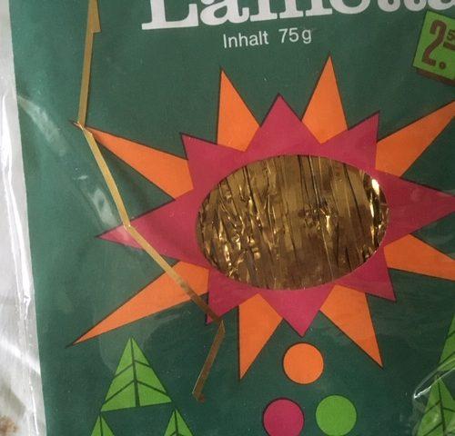 """Verpakking van 122 gram """"Echtes Stanniol lametta"""" in goud jaren 1970"""