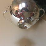 Antieke bijzondere kerstbal een suikerpot van dun geblazen glas in zilver 1e kwart 1900