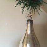 Antieke kerst pegel van dun geblazen glas in zilver 1e helft 1900