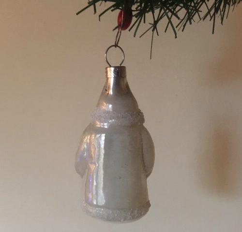 Antieke kerstman van vliesdun geblazen glas in zilver patine 1e kwart 1900