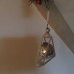 Oude antieke Gablonzer bal in triangel van glas in zilver 1920-1950