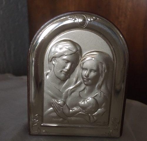 Mini voorstelling van Jezus, Maria en Jozef in zilver en mahoniekleur