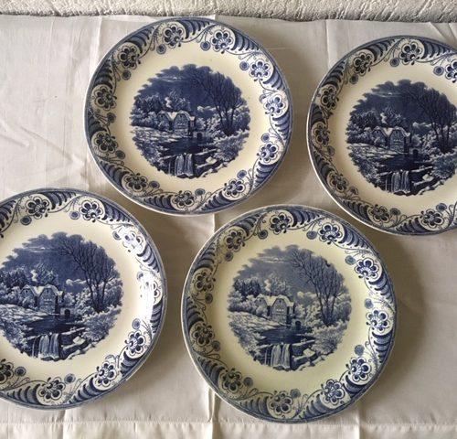 4 ontbijtborden decor Landschap 4 van Societe Ceramique Maastricht monochroom blauw