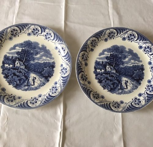 2 ontbijtborden Societe Ceramique Maastricht decor landschap 2 monochroom blauw