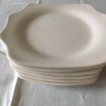 6 retro witte plateel taartbordjes jaren 1950-1960