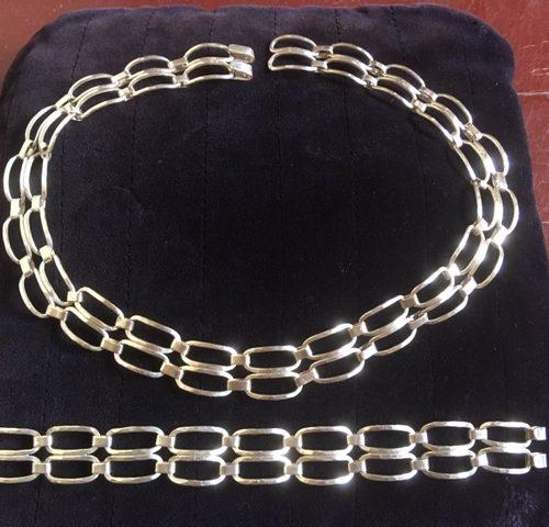 Zilveren handgemaakt modernistisch collier en armband van Rex jaren 1960-1970