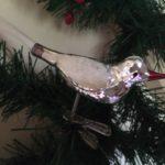 Oude antieke Kerst vogel van dun geblazen glas in zilver midden vorige eeuw