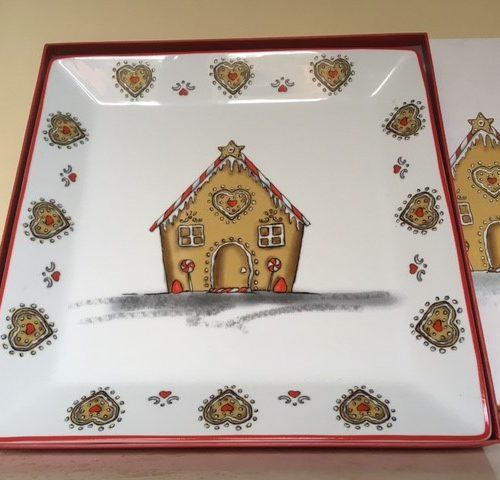 Grote vierkante Kerst serveer schotel met koekhuisje in doos van porselein