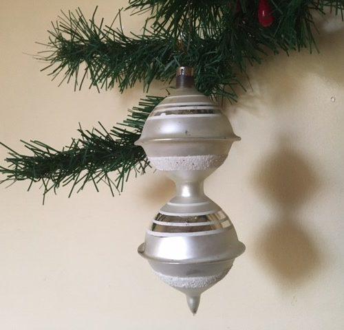 Oude antieke giga dubbele tol van dun geblazen glas in zilver 1e kwart 1900