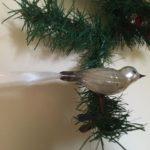 Oude antieke vogel van dun geblazen gepatineerd glas in zilver 1 helft 1900