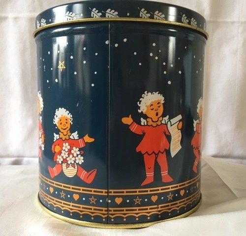 Flink Deens koekjes Kerstblik in donkerblauw en rood jaren 1980