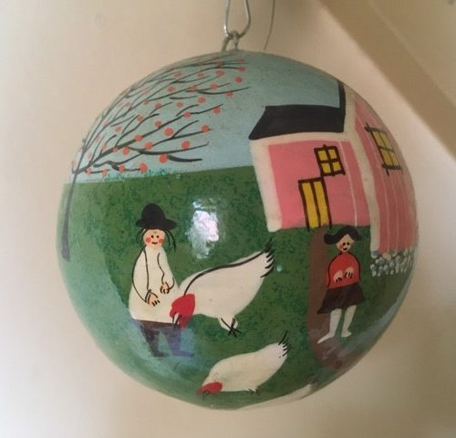 Bijzondere bal voor de boom met Pasen handbeschilderd uit de jaren 1970-1980
