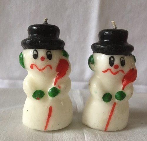 Sneeuwpop een ondeugd van een kaars van Gurley bijna 8 cm. uit de jaren 1960