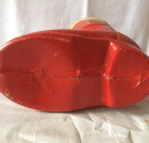 Oude antieke candy container van rood gelakt cardboard midden 1900