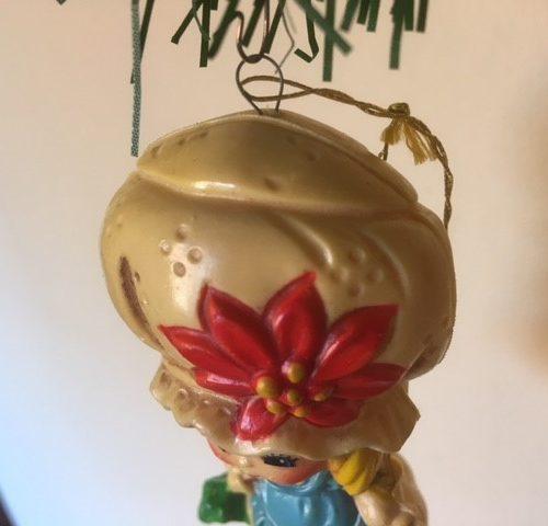 Retro Holly Hobbie Kerst popje van Sarah Kay zacht plastic jaren 1970