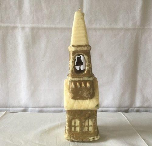 Gurley kaars een flinke kerk met bel of klok in goud jaren 1950-1960