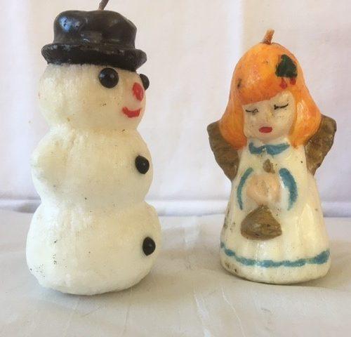 Lieflijke Kerstengel van Gurley in lichtblauw en goud jaren 1960