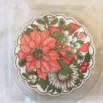 16 retro papieren Kerst bloem onderzetters