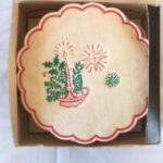 Retro doosje met 25 Celtona papieren Kerst onderzetters midden 1900
